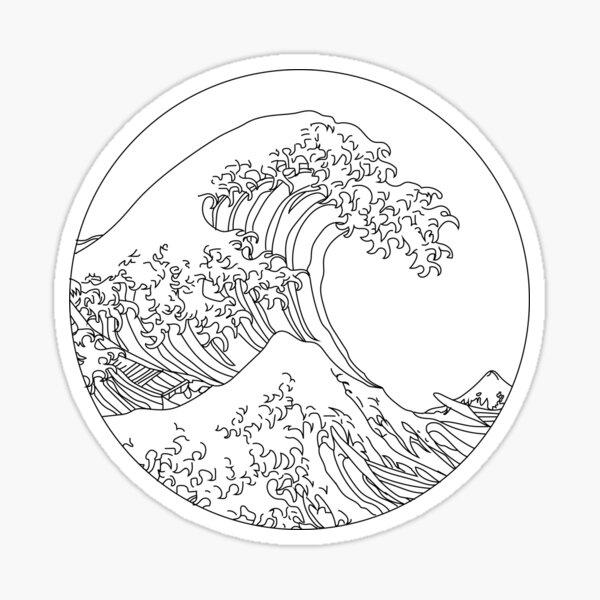 Minimalist Great Wave Sticker