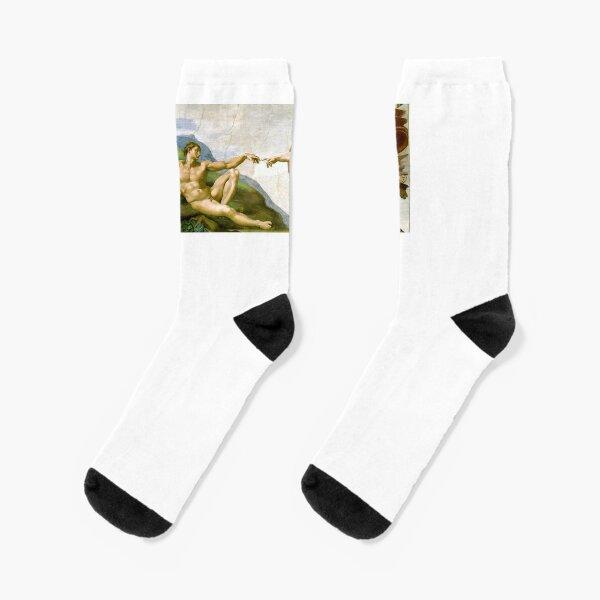Michelangelo. The Creation of Adam. 1510. Genesis, Ceiling, Sistine Chapel, Rome, Touch of God. Socks