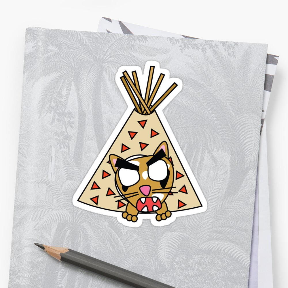 zombie cat cleo in a teepee Sticker