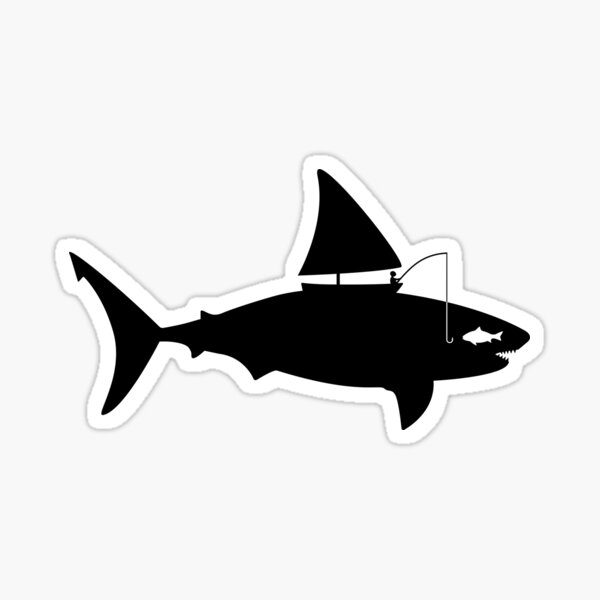 A fin day for fishing: BLACK Sticker