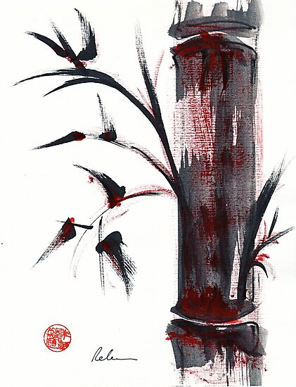 Crimson in the Mist - India ink bamboo wash painting by Rebecca Rees