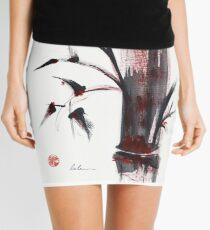 Crimson in the Mist - India ink bamboo wash painting Mini Skirt
