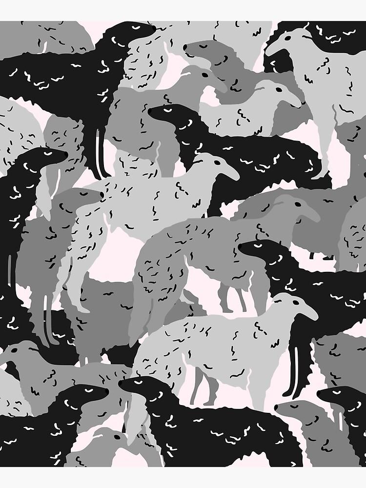 Cute Borzoi Dogs on Pink Background by kapotka
