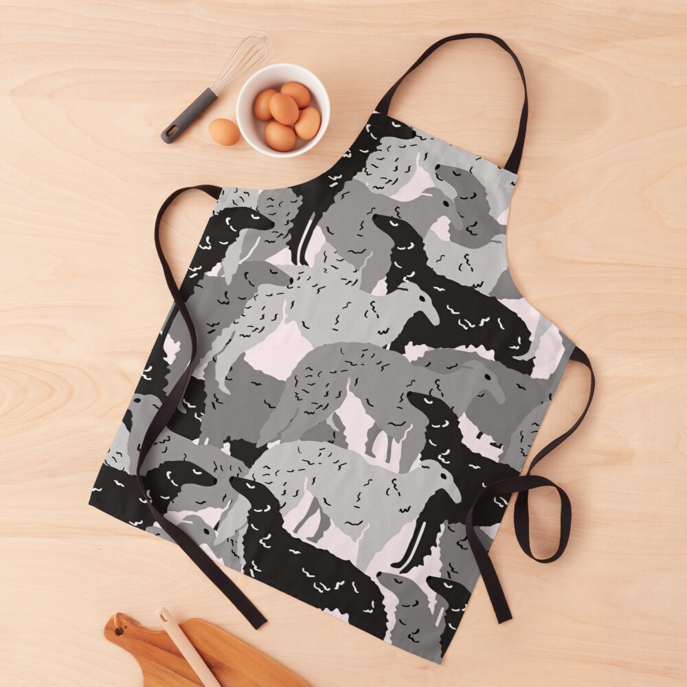 Cute Borzoi Dogs on Pink Background Apron