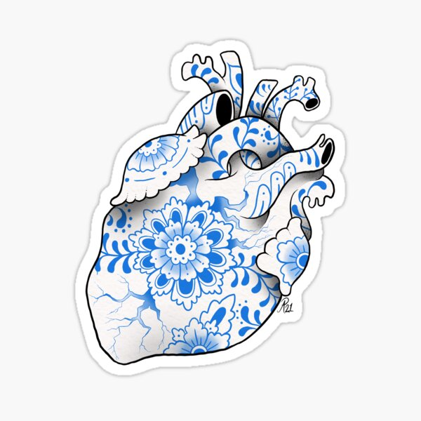 Delft Heart Sticker