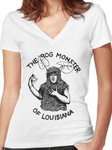 The Bog Monster of Louisiana Women's Fitted V-Neck T-Shirt
