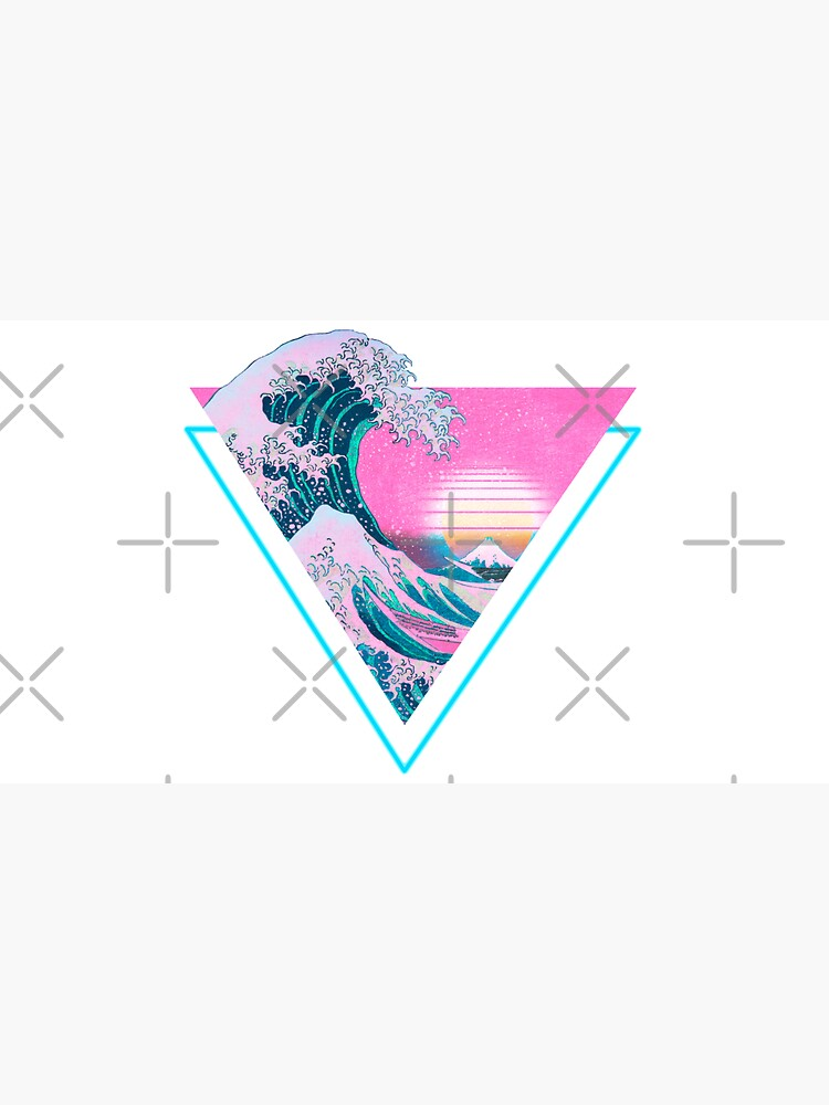 Vaporwave Aesthetic Great Wave Retro Triangle by CoitoCG