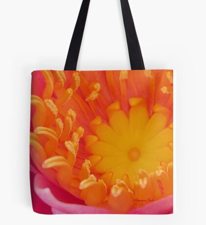 Looking Inside a Pink Water Lily  Tote Bag