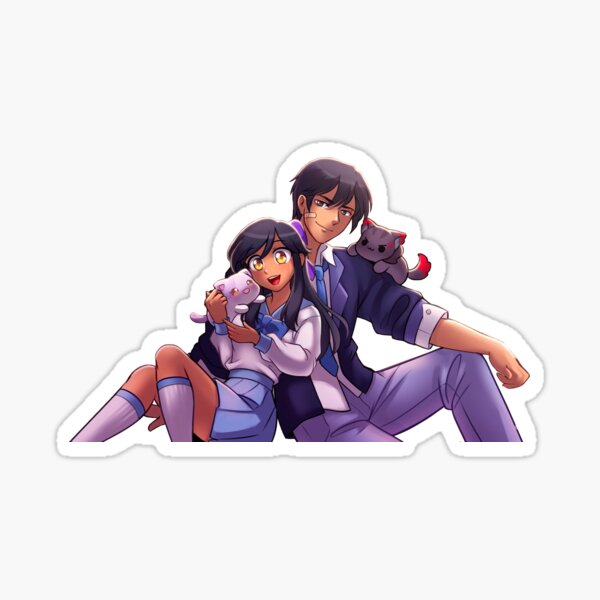 Aphmau and Aaron with Plushies, Aarmau and cats Sticker