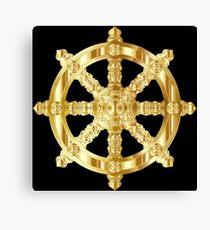 Gold Dharma Wheel Canvas Print
