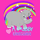 Cute Chubby Little Unicorn Rainbow Design by Artification
