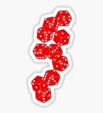 White Red Dice Sticker