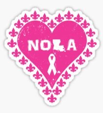 Think Pink NOLA Fleur de Lis Heart Sticker