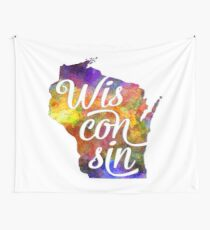 Wisconsin US State in watercolor text cut out Wall Tapestry