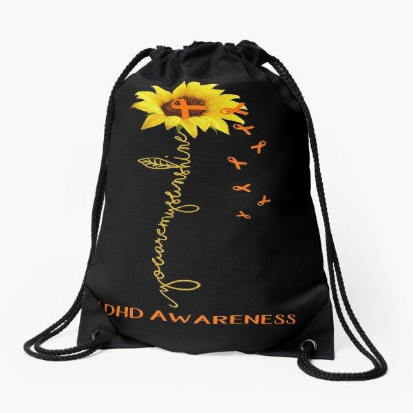 Sunflower You Are My Sunshine ADHD Awareness Drawstring Bag