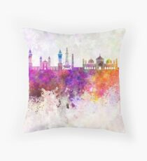 Lahore skyline in watercolor background Throw Pillow
