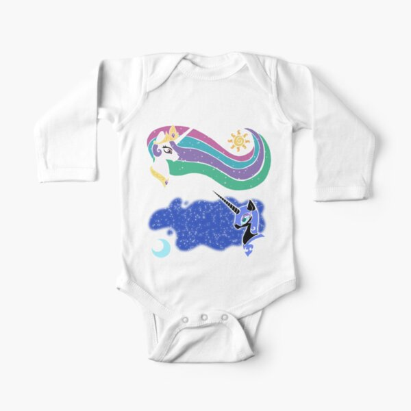 Princess Celestia and Nightmare Moon Long Sleeve Baby One-Piece