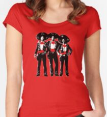 Three Amigos - Pop Art on Red Women's Fitted Scoop T-Shirt