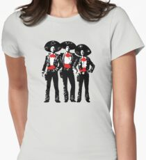 Three Amigos - Pop Art on Red Womens Fitted T-Shirt