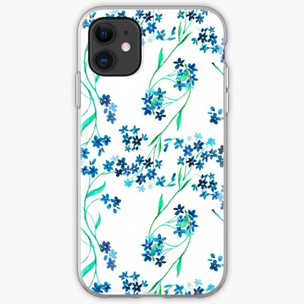 Watercolor blue flower. iPhone Soft Case