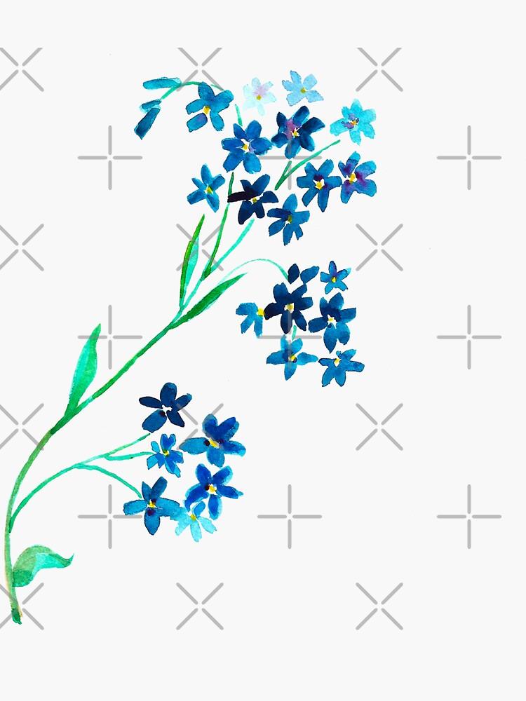 Watercolor blue flower. by Asetrova