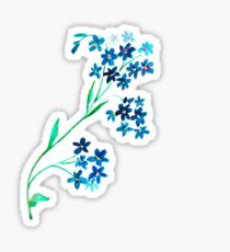 Watercolor blue flower. Sticker