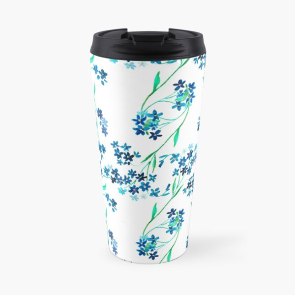 Watercolor blue flower. Travel Mug