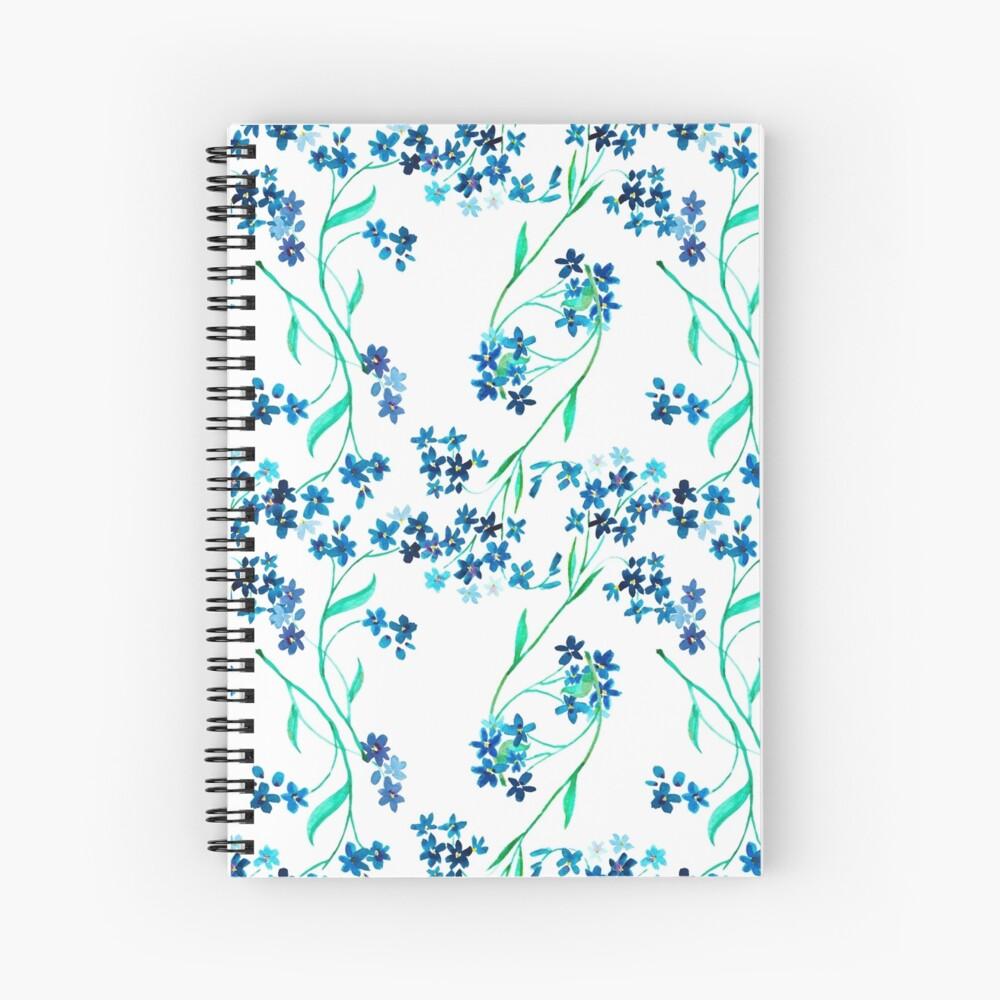 Flor azul acuarela Cuaderno de espiral