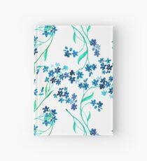 Watercolor blue flower. Hardcover Journal