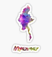 Myanmar in watercolor Sticker
