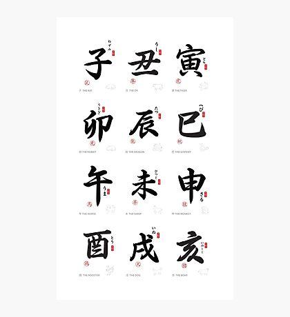 Chinese Japanese Horoscope  Photographic Print
