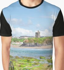 seaweed covered rocks with castle and beach Graphic T-Shirt