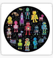 Robots in Space - black Sticker