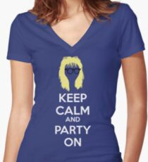 Keep Calm, and Party On Women's Fitted V-Neck T-Shirt