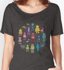 Robots in Space - grey - fun Robot pattern by Cecca Designs Women's Relaxed Fit T-Shirt