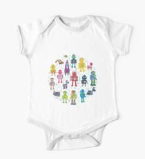 Robots in Space - grey - fun Robot pattern by Cecca Designs Short Sleeve Baby One-Piece