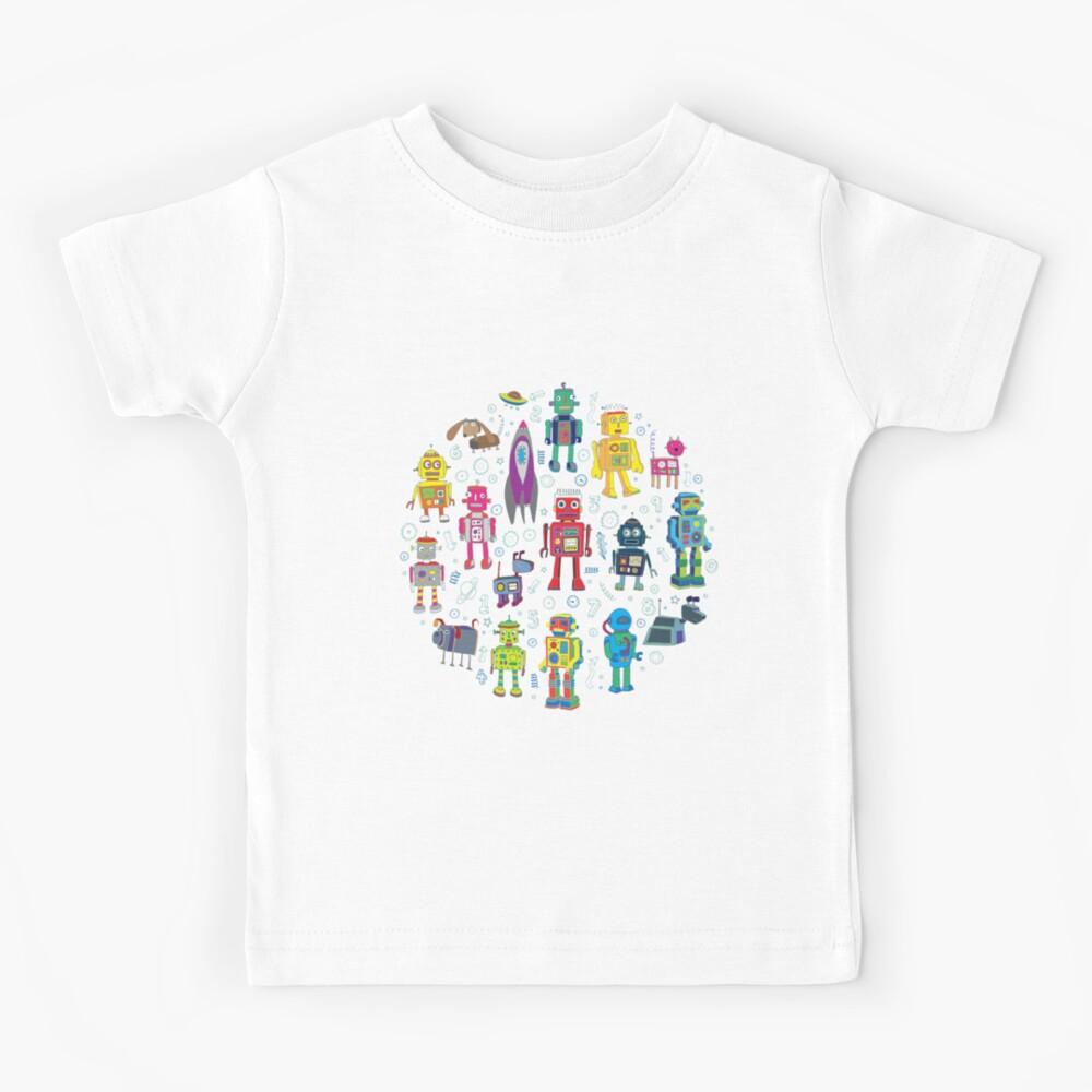 Robots in Space - grey - fun Robot pattern by Cecca Designs Kids T-Shirt