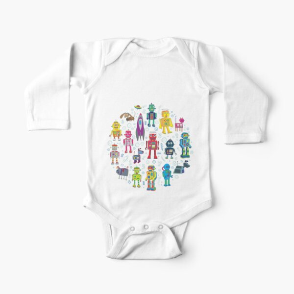 Robots in Space - grey - fun Robot pattern by Cecca Designs Long Sleeve Baby One-Piece