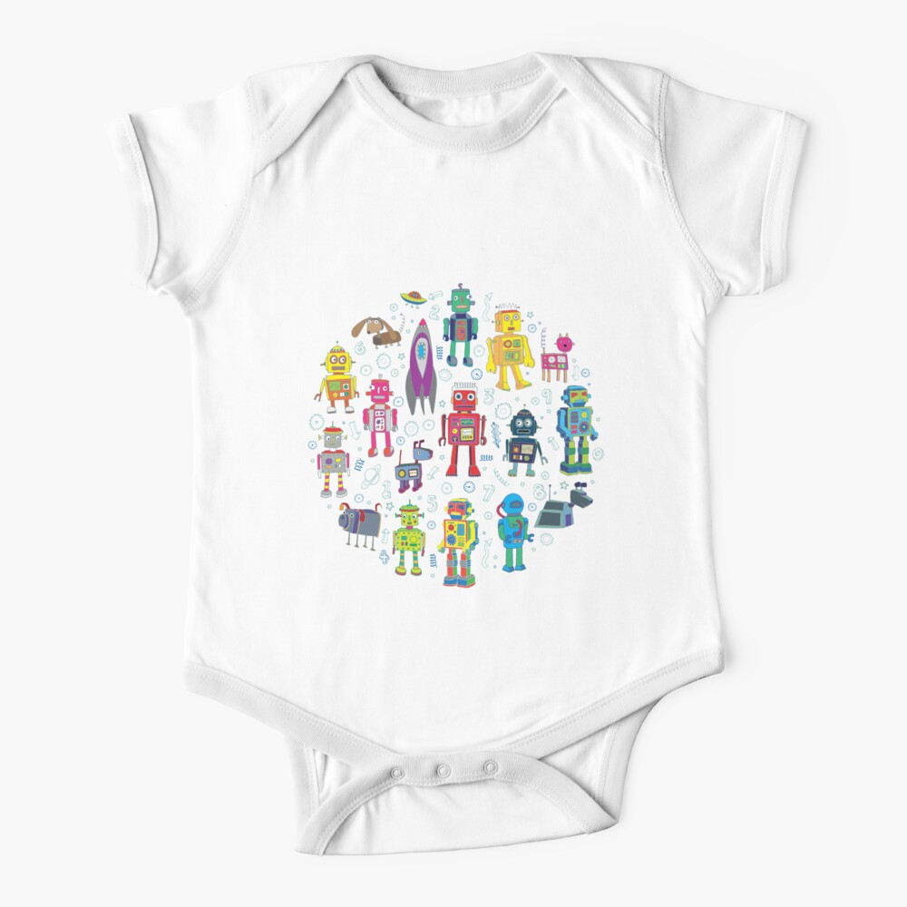 Robots in Space - grey - fun Robot pattern by Cecca Designs Baby One-Piece