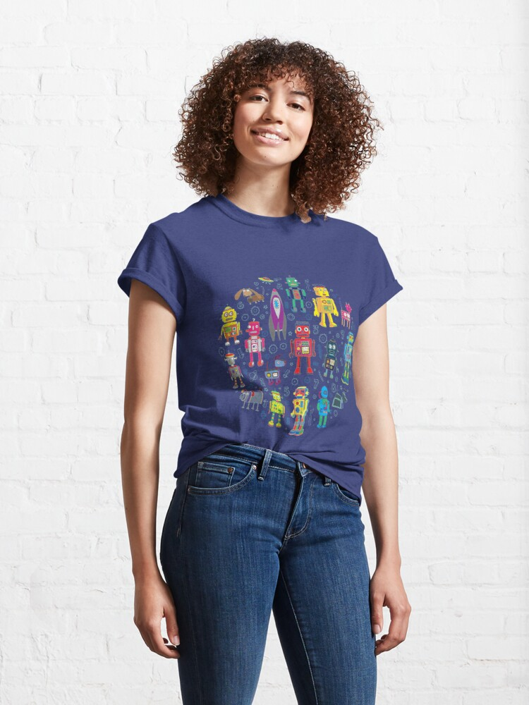 Alternate view of Robots in Space - grey - fun Robot pattern by Cecca Designs Classic T-Shirt