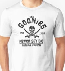 The Goonies - Naver Say Die - Black on White Unisex T-Shirt