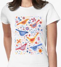 Birds in a Garden Womens Fitted T-Shirt