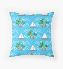 tropical coconut palm trees and waves  Throw Pillow