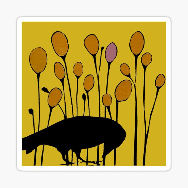 secondseed collage crow and pods Sticker