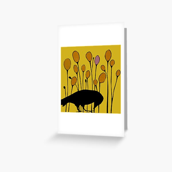 secondseed collage crow and pods Greeting Card