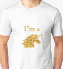 I'm a Unicorn Head in Photo in Gold T-Shirt