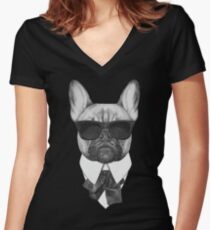 French Bulldog In Black Women's Fitted V-Neck T-Shirt