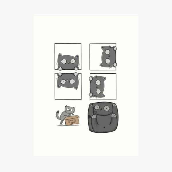 Playing with Panels Cat Comic Art Print
