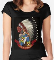 Freedom. Native American Indian profile war bonnet. Women's Fitted Scoop T-Shirt