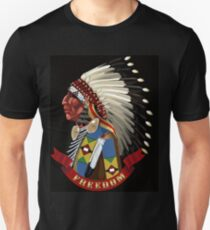 Freedom. Native American Indian profile war bonnet. Unisex T-Shirt
